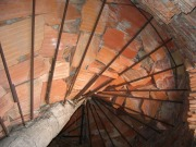 The underneath of a spiral staircase in the Cathedral de Justo, currently under construction in Madrid, Spain.